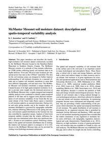 McMaster Mesonet Soil Moisture Dataset: ... by Kornelsen, K. C.