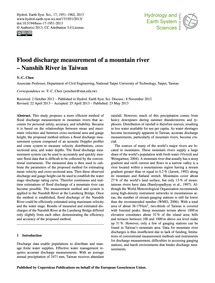 Flood Discharge Measurement of a Mountai... by Chen, Y.-c.
