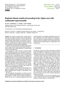 Regional Climate Models Downscaling in t... by Cane, D.