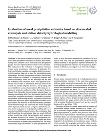 Evaluation of Areal Precipitation Estima... by Duethmann, D.