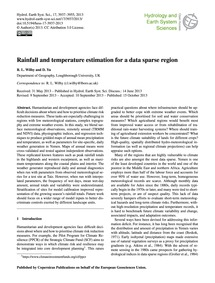Rainfall and Temperature Estimation for ... by Wil, R. L.