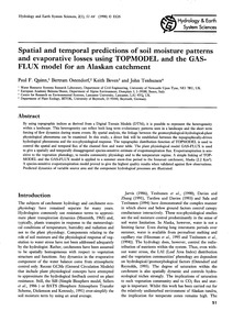 Spatial and Temporal Predictions of Soil... by Quinn, P. F.