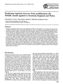 Predicting Regional Recovery from Acidif... by Evans, C. D.
