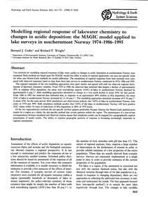 Modelling Regional Response of Lakewater... by Cos, B. J.