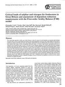 Critical Loads of Sulphur and Nitrogen f... by Curtis, C.