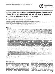 Hydrological Characterisation of Stalagm... by Baker, A.