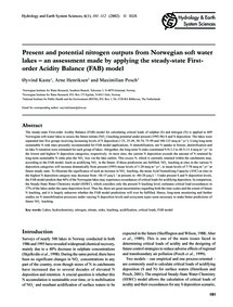 Present and Potential Nitrogen Outputs f... by Kaste, Ø.