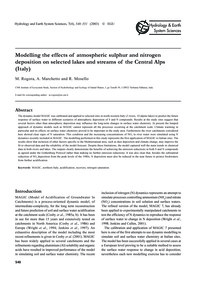 Modelling the Effects of Atmospheric Sul... by Rogora, M.