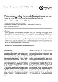 Probable Changes in Lake Chemistry in Ca... by Clair, T. A.