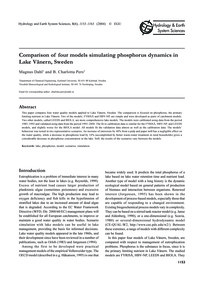 Comparison of Four Models Simulating Pho... by Dahl, M.