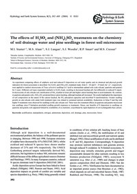 The Effects of H2So4 and (NH4)2So4 Treat... by Stutter, M. I.