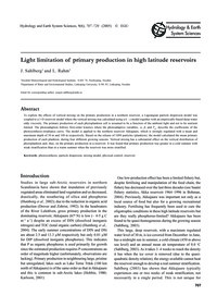 Light Limitation of Primary Production i... by Sahlberg, J.