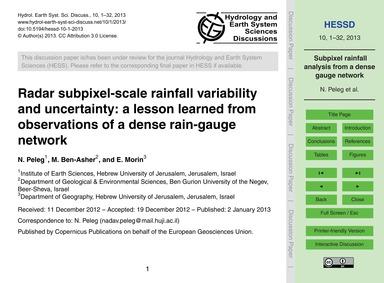 Radar Subpixel-scale Rainfall Variabilit... by Peleg, N.