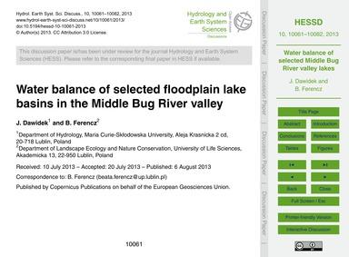 Water Balance of Selected Floodplain Lak... by Dawidek, J.