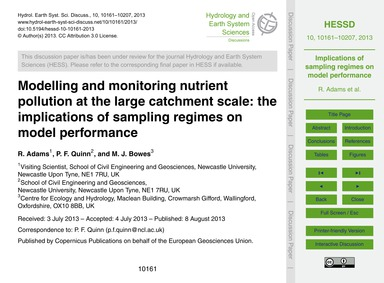 Modelling and Monitoring Nutrient Pollut... by Adams, R.
