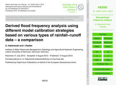 Derived Flood Frequency Analysis Using D... by Haberlandt, U.