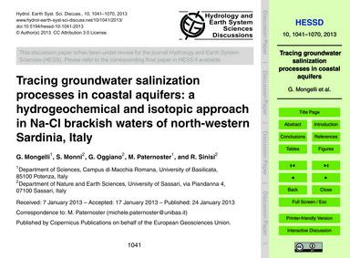 Tracing Groundwater Salinization Process... by Mongelli, G.