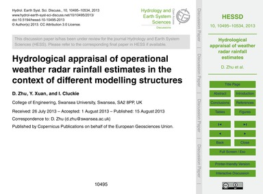 Hydrological Appraisal of Operational We... by Zhu, D.