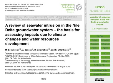 A Review of Seawater Intrusion in the Ni... by Mabrouk, M. B.
