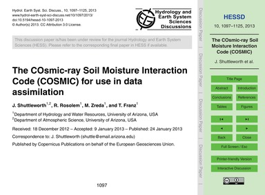 The Cosmic-ray Soil Moisture Interaction... by Shuttleworth, J.