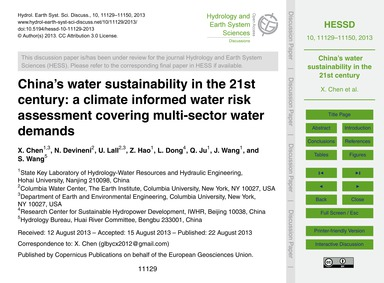 China's Water Sustainability in the 21St... by Chen, X.
