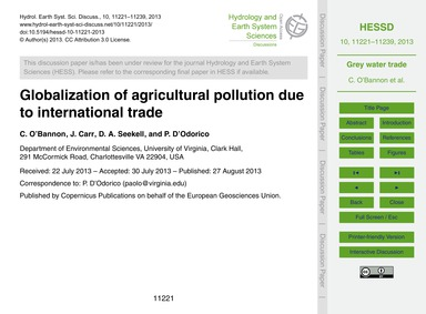 Globalization of Agricultural Pollution ... by O'Bannon, C.