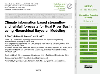 Climate Information Based Streamflow and... by Chen, X.