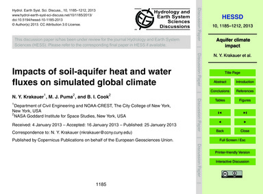 Impacts of Soil-aquifer Heat and Water F... by Krakauer, N. Y.