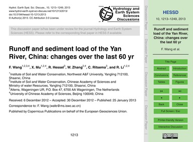 Runoff and Sediment Load of the Yan Rive... by Wang, F.