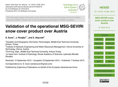 Validation of the Operational Msg-seviri... by Surer, S.