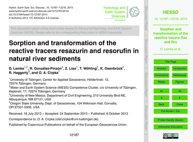 Sorption and Transformation of the React... by Lemke, D.