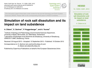 Simulation of Rock Salt Dissolution and ... by Zidane, A.