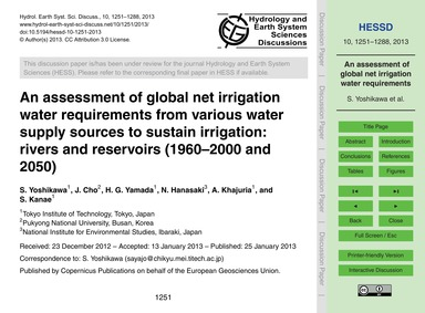 An Assessment of Global Net Irrigation W... by Yoshikawa, S.