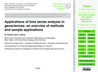 Applications of Time Series Analysis in ... by Gossel, W.