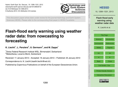 Flash-flood Early Warning Using Weather ... by Liechti, K.