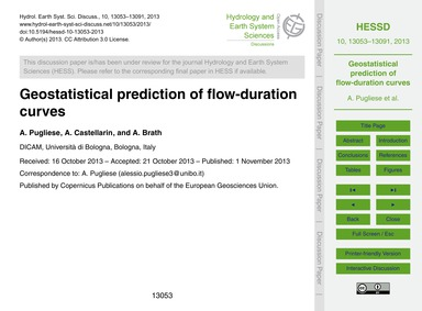 Geostatistical Prediction of Flow-durati... by Pugliese, A.