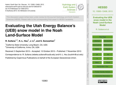 Evaluating the Utah Energy Balance's (Ue... by Sultana, R.