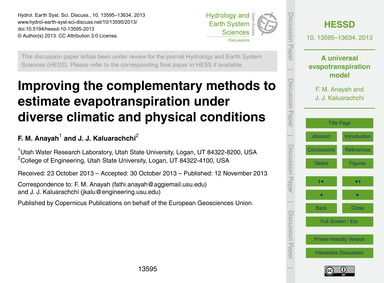 Improving the Complementary Methods to E... by Anayah, F. M.