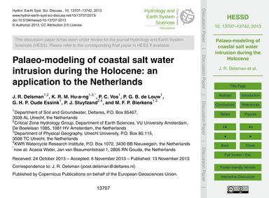 Palaeo-modeling of Coastal Salt Water In... by Delsman, J. R.