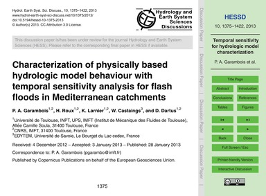 Characterization of Physically Based Hyd... by Garambois, P. A.