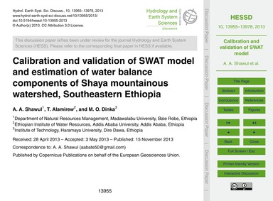 Calibration and Validation of Swat Model... by Shawul, A. A.