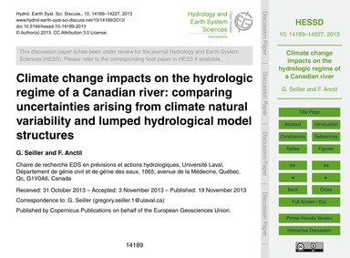 Climate Change Impacts on the Hydrologic... by Seiller, G.
