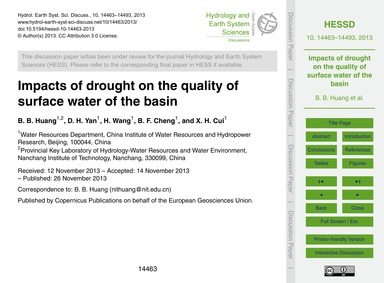 Impacts of Drought on the Quality of Sur... by Huang, B. B.