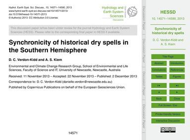 Synchronicity of Historical Dry Spells i... by Verdon-kidd, D. C.