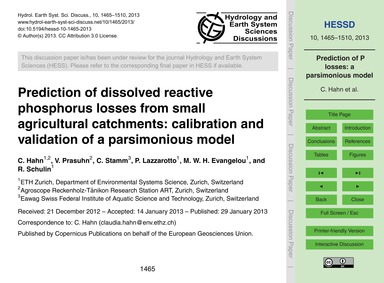 Prediction of Dissolved Reactive Phospho... by Hahn, C.