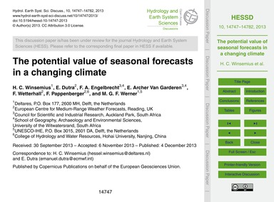 The Potential Value of Seasonal Forecast... by Winsemius, H. C.