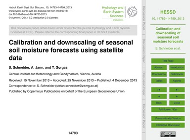 Calibration and Downscaling of Seasonal ... by Schneider, S.