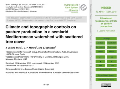 Climate and Topographic Controls on Past... by Lozano-parra, J.