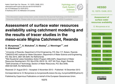 Assessment of Surface Water Resources Av... by Munyaneza, O.