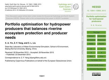 Portfolio Optimisation for Hydropower Pr... by Yin, X. A.